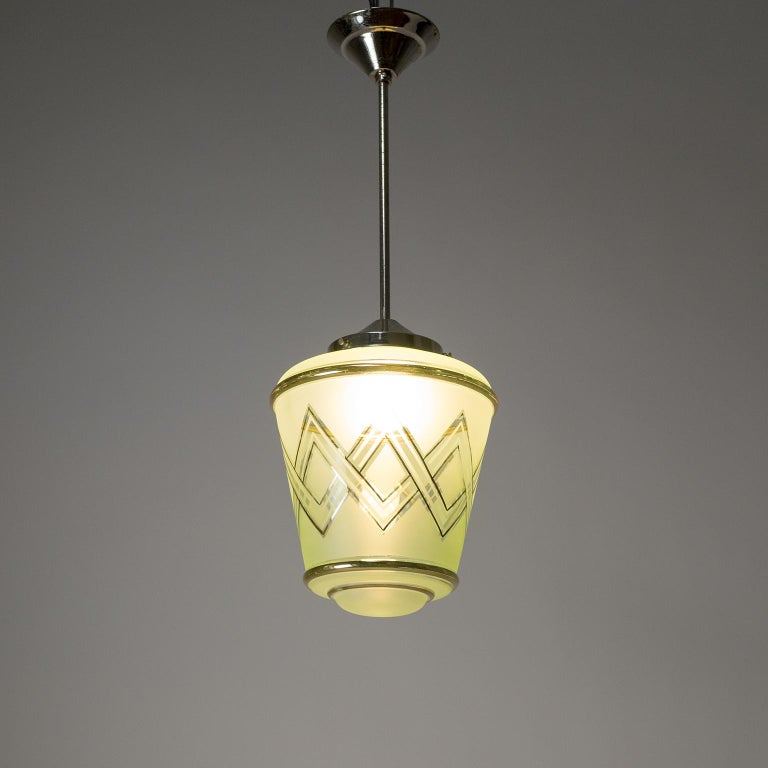 Pair of 1940s French Art Deco Lanterns, Mint Glass and Gold Paint For Sale 8