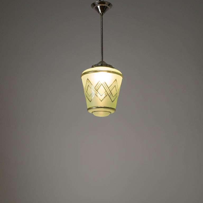 Pair of 1940s French Art Deco Lanterns, Mint Glass and Gold Paint For Sale 9