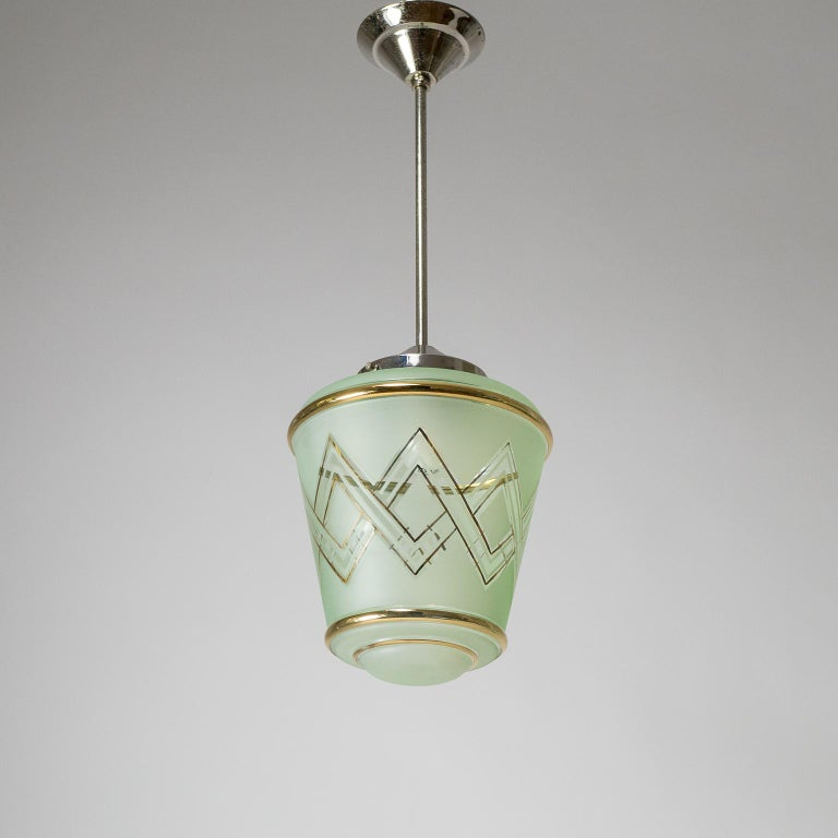 Pair of 1940s French Art Deco Lanterns, Mint Glass and Gold Paint For Sale 1