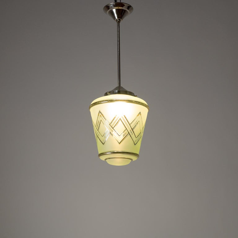Pair of 1940s French Art Deco Lanterns, Mint Glass and Gold Paint For Sale 2