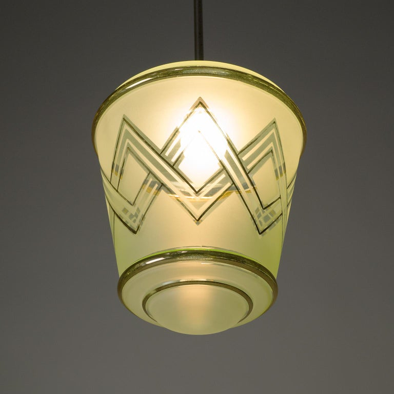 Pair of 1940s French Art Deco Lanterns, Mint Glass and Gold Paint In Good Condition For Sale In Vienna, AT
