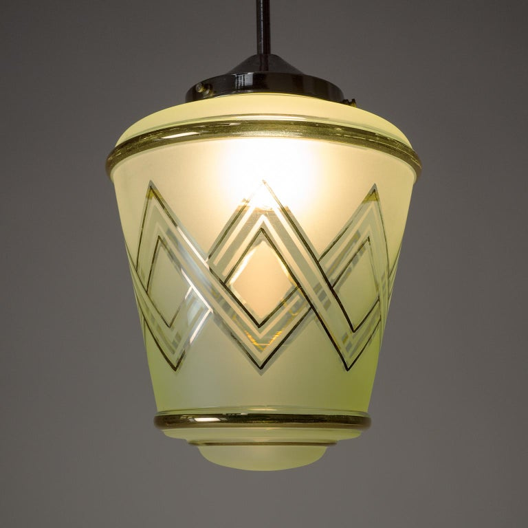 Pair of 1940s French Art Deco Lanterns, Mint Glass and Gold Paint For Sale 3