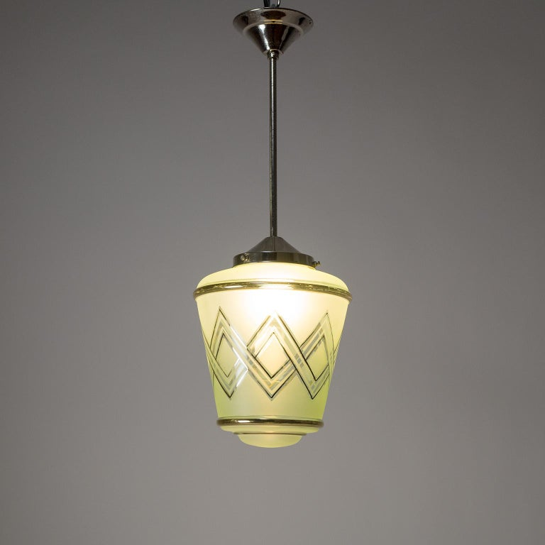 Frosted Pair of 1940s French Art Deco Lanterns, Mint Glass and Gold Paint For Sale