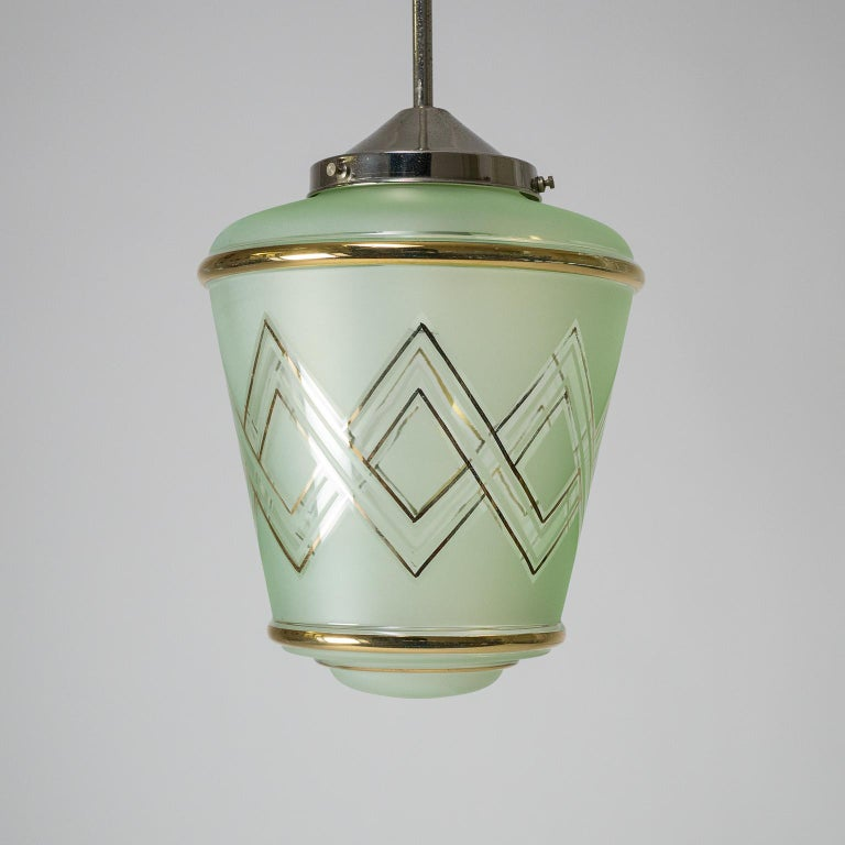 Pair of 1940s French Art Deco Lanterns, Mint Glass and Gold Paint For Sale 4