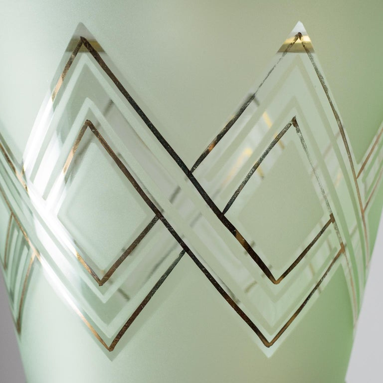 Pair of 1940s French Art Deco Lanterns, Mint Glass and Gold Paint For Sale 5