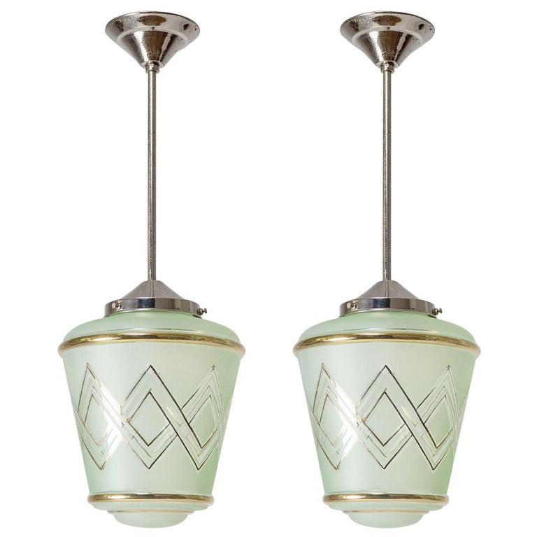 Pair of 1940s French Art Deco Lanterns, Mint Glass and Gold Paint For Sale