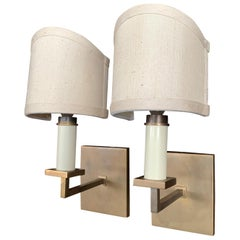 Pair of 1940s French Brass Sconces
