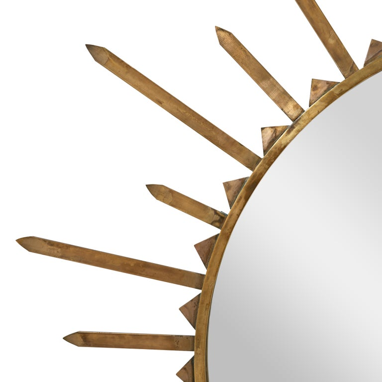 Pair of 1940s French Brass Sunburst Mirrors In Good Condition In New York, NY
