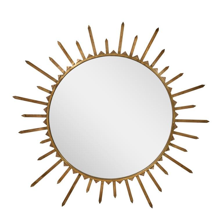 20th Century Pair of 1940s French Brass Sunburst Mirrors