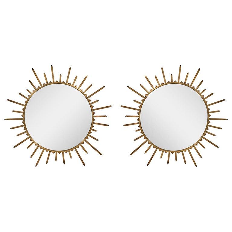 Pair of 1940s French Brass Sunburst Mirrors