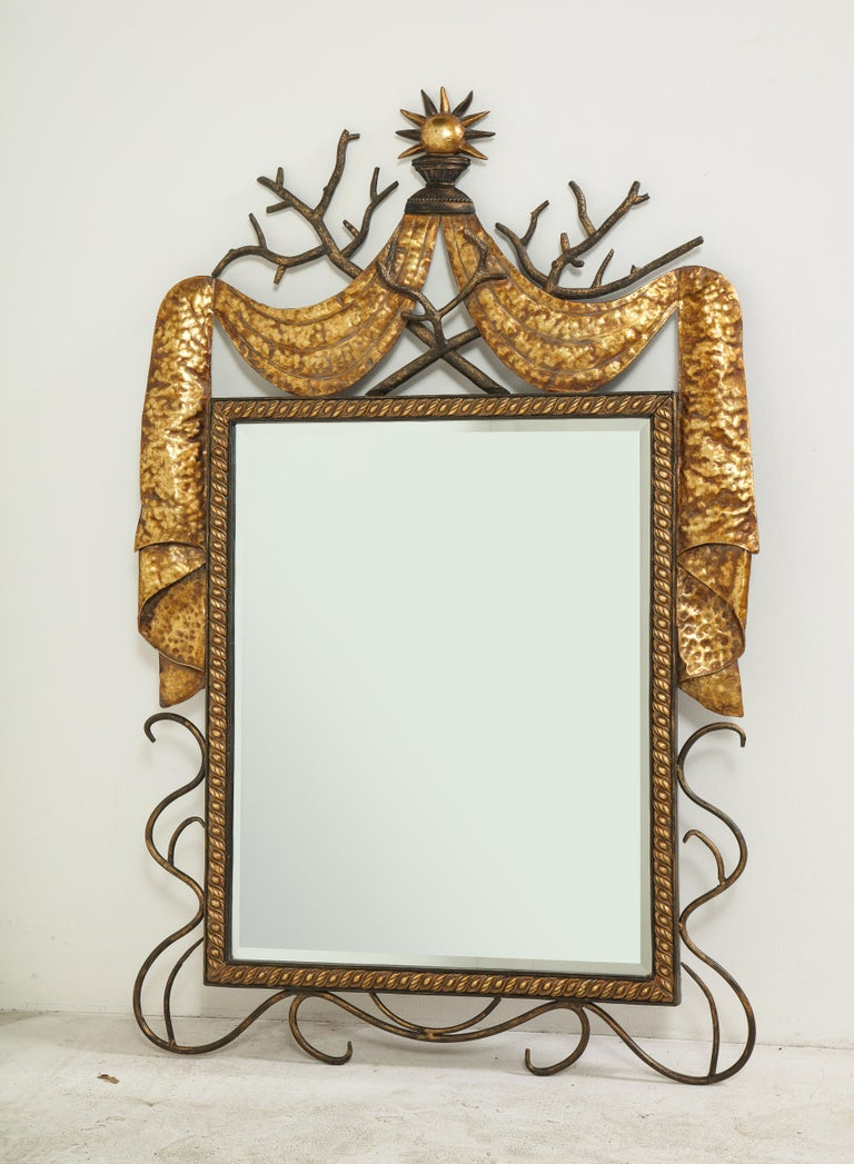 Pair of Gilbert Poillerat Style Parcel-Gilt and Black Iron Wall Mirrors 4