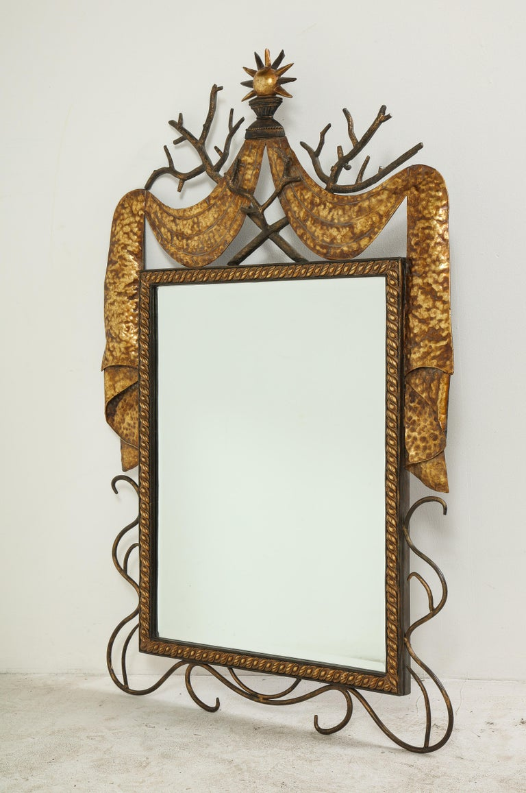 Pair of Gilbert Poillerat Style Parcel-Gilt and Black Iron Wall Mirrors 5