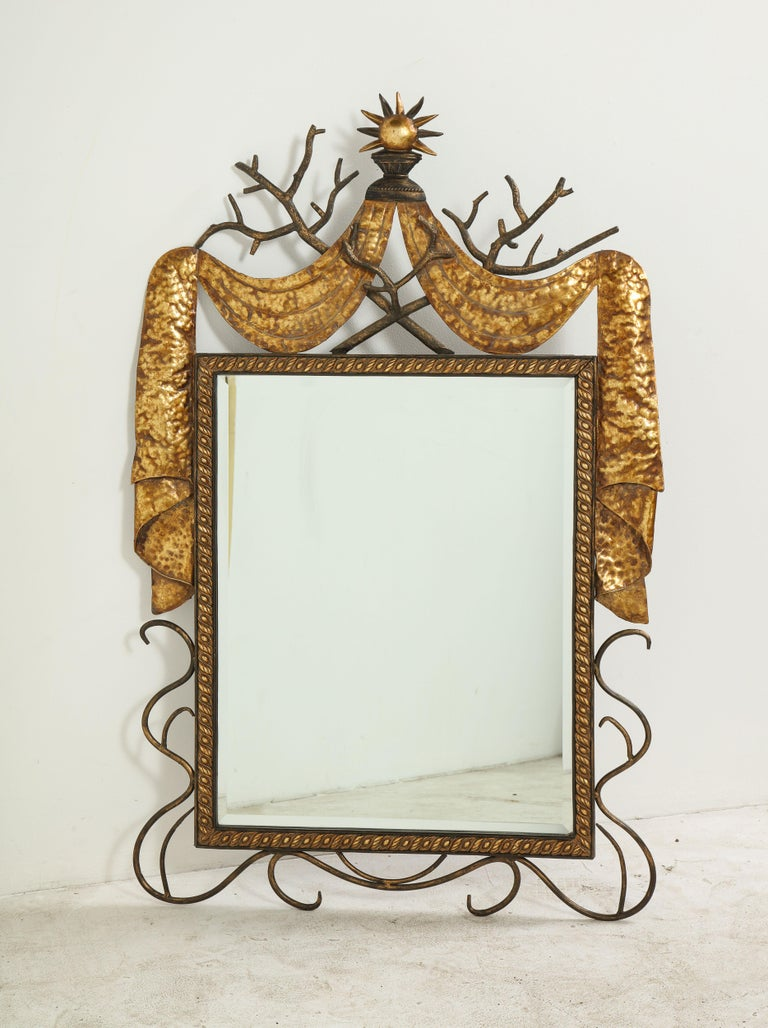 Pair of Gilbert Poillerat Style Parcel-Gilt and Black Iron Wall Mirrors 6