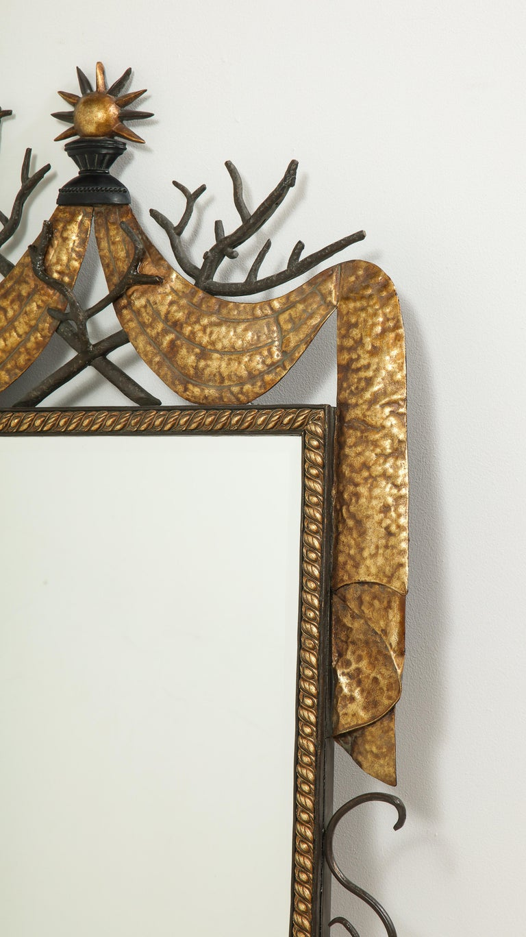 Pair of Gilbert Poillerat Style Parcel-Gilt and Black Iron Wall Mirrors 7