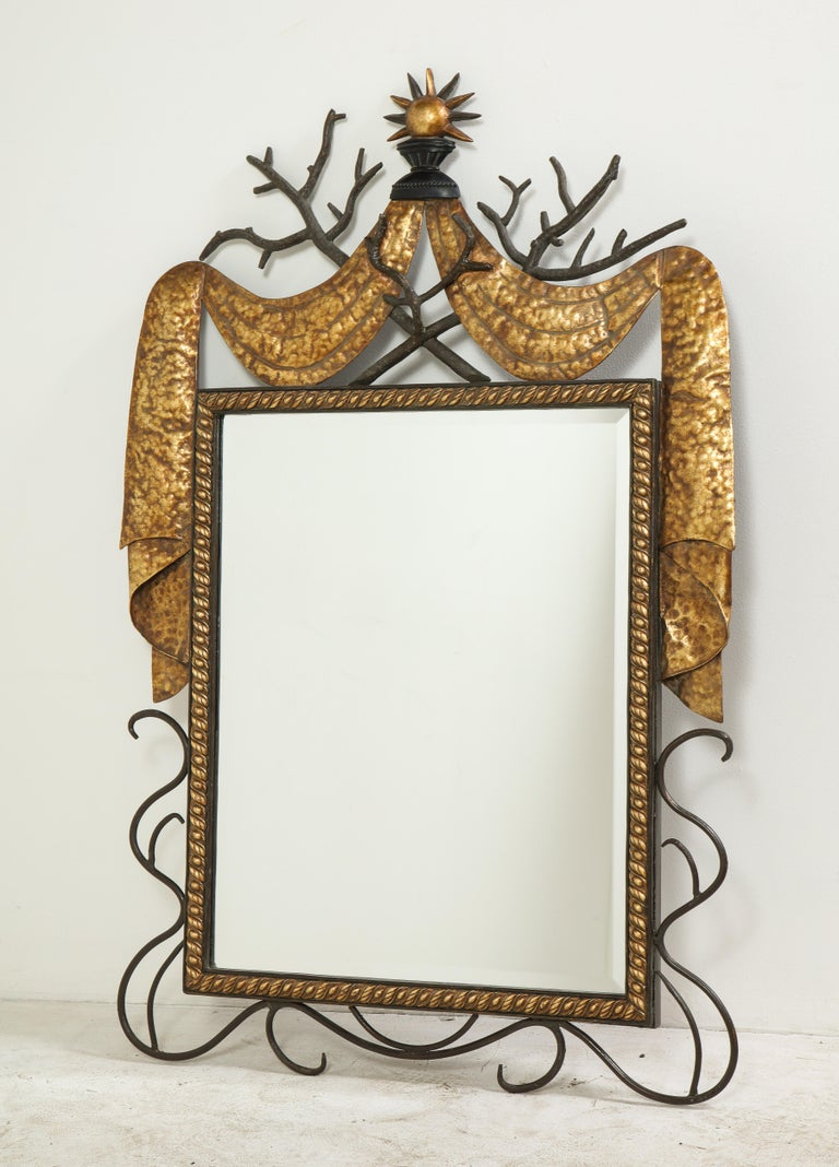Pair of Gilbert Poillerat Style Parcel-Gilt and Black Iron Wall Mirrors 9