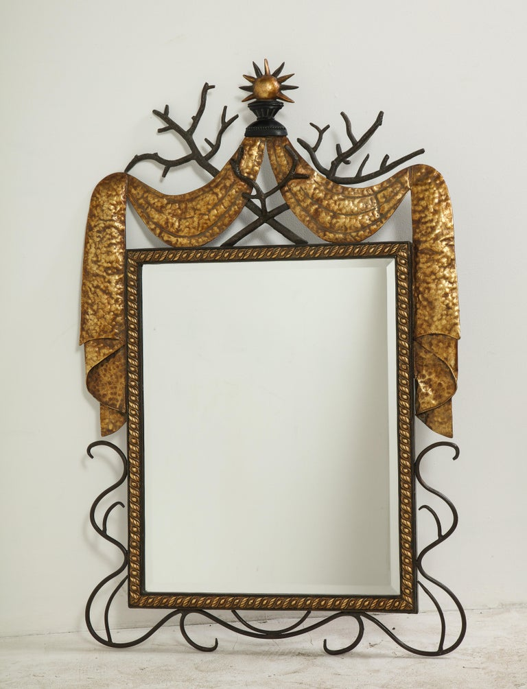 Pair of Gilbert Poillerat Style Parcel-Gilt and Black Iron Wall Mirrors 10