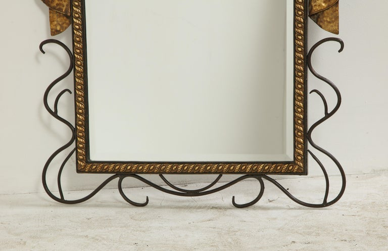 Pair of Gilbert Poillerat Style Parcel-Gilt and Black Iron Wall Mirrors 12
