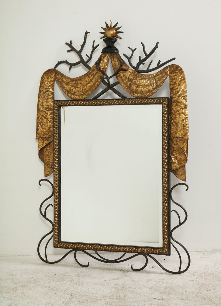 Pair of Gilbert Poillerat Style Parcel-Gilt and Black Iron Wall Mirrors 13