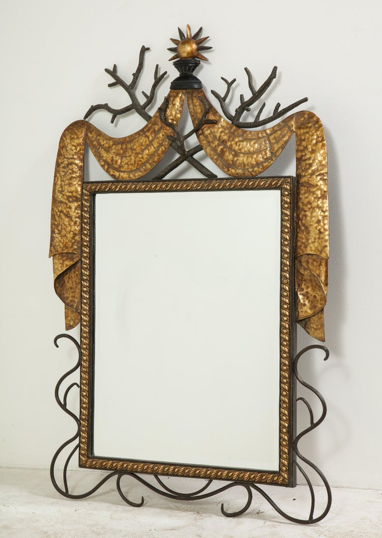 Art Deco Pair of Gilbert Poillerat Style Parcel-Gilt and Black Iron Wall Mirrors