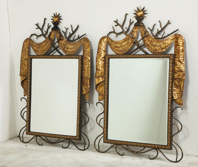 Pair of Gilbert Poillerat Style Parcel-Gilt and Black Iron Wall Mirrors 2