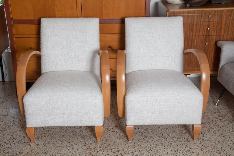 Art Deco Pair of 1940s French Lounge Chairs in Raw Silk Tweed For Sale