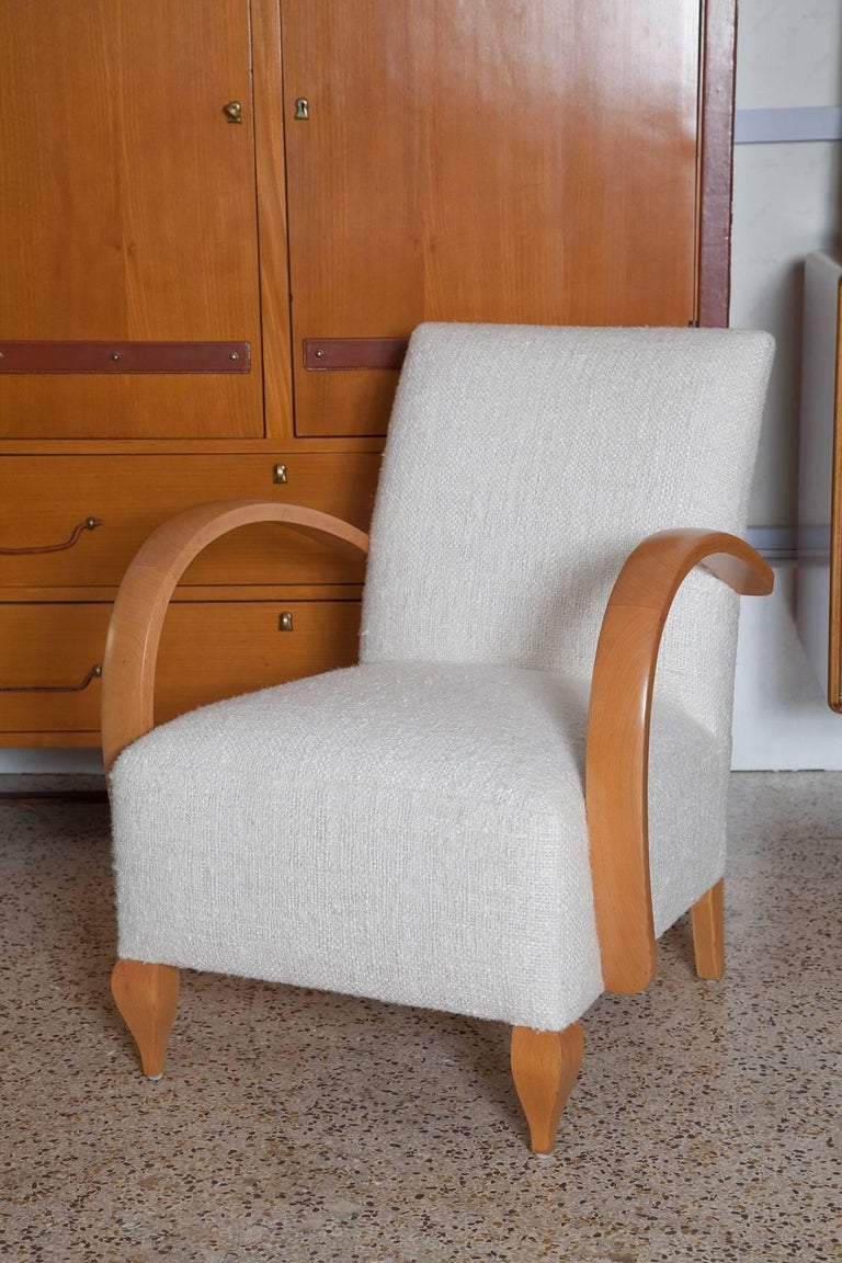 Pair of 1940s French Lounge Chairs in Raw Silk Tweed In Excellent Condition For Sale In North Miami, FL