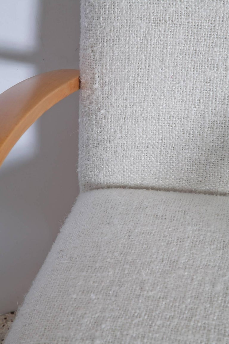 Pair of 1940s French Lounge Chairs in Raw Silk Tweed For Sale 1