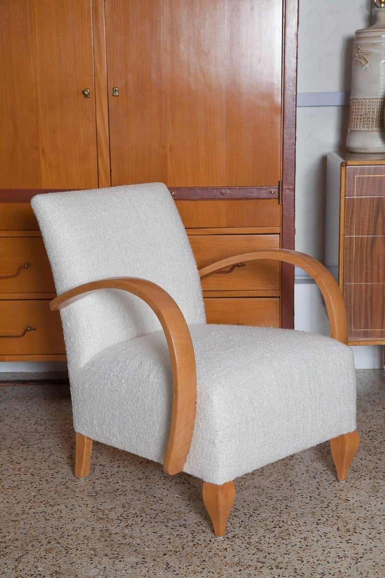 Pair of 1940s French Lounge Chairs in Raw Silk Tweed For Sale 3