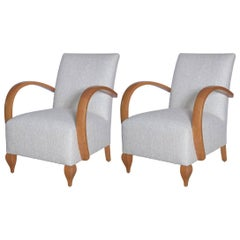 Pair of 1940s French Deco Lounge Chairs in Raw Silk Tweed