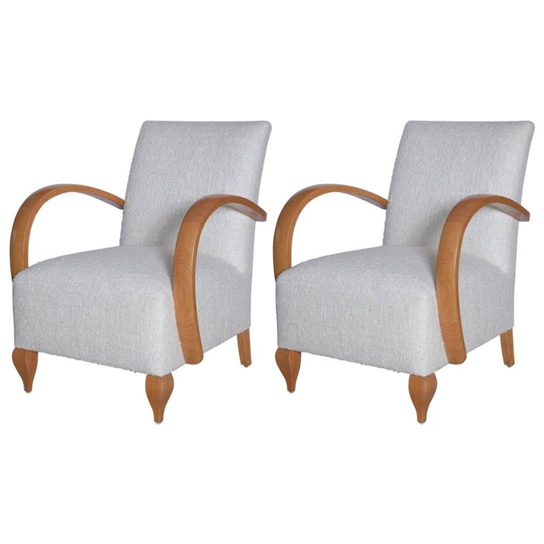 Pair of 1940s French Lounge Chairs in Raw Silk Tweed For Sale