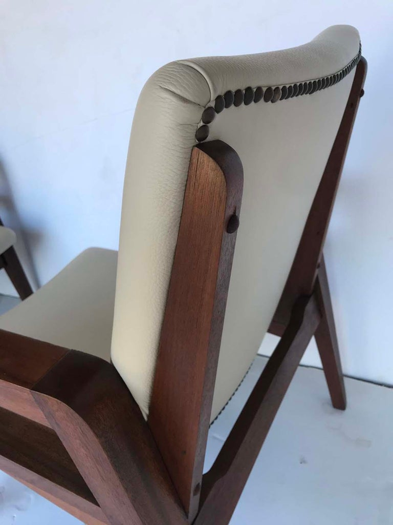 Pair of 1940s French Mahogany and Leather Armchairs For Sale 6
