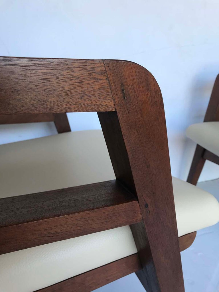 Pair of 1940s French Mahogany and Leather Armchairs For Sale 7