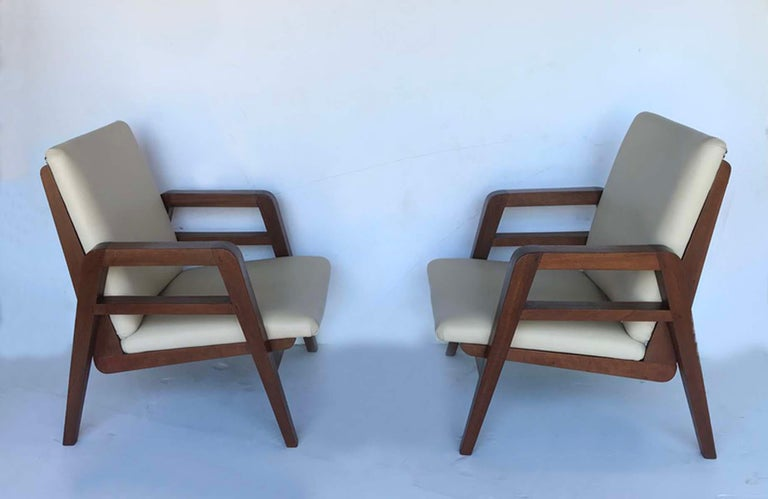 Pair of 1940s French Mahogany and Leather Armchairs For Sale 1