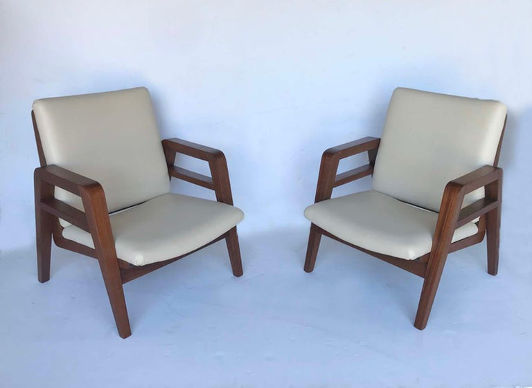 Pair of 1940s French Mahogany and Leather Armchairs For Sale 4