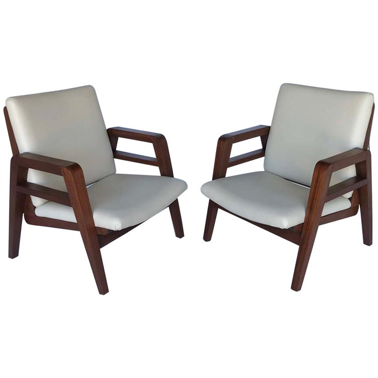 Pair of 1940s French Mahogany and Leather Armchairs For Sale