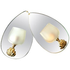 Pair of 1940s French Mirrored Back Sconces