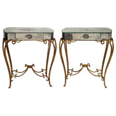 Pair of 1940's French Mirrored End Tables Attributed to René Drouet