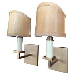 Pair of 1940s French Sconces with New Silk Shades