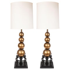 Pair of 1940s Gilded Spheres and Wrought Iron Spherical Art Moderne Table Lamps
