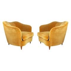 Pair of 1940s Gold Velvet Armchairs Designed by Gio Ponti for Casa Giardino