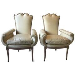 Pair of 1940s Hollywood Regency Wide Armchairs