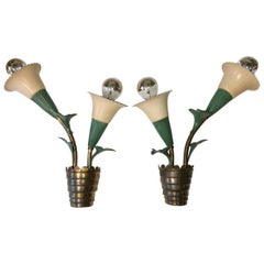 Pair of 1940s Italian 'Flower Pot' Wall Sconces