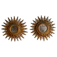 Pair of 1940s Italian Gilt Double Stepped Sunburst Mirrors, Original Glass