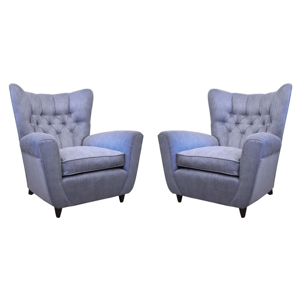 Pair of 1940s Italian Wing Armchairs Light Blue Tufted Back by Paolo Buffa