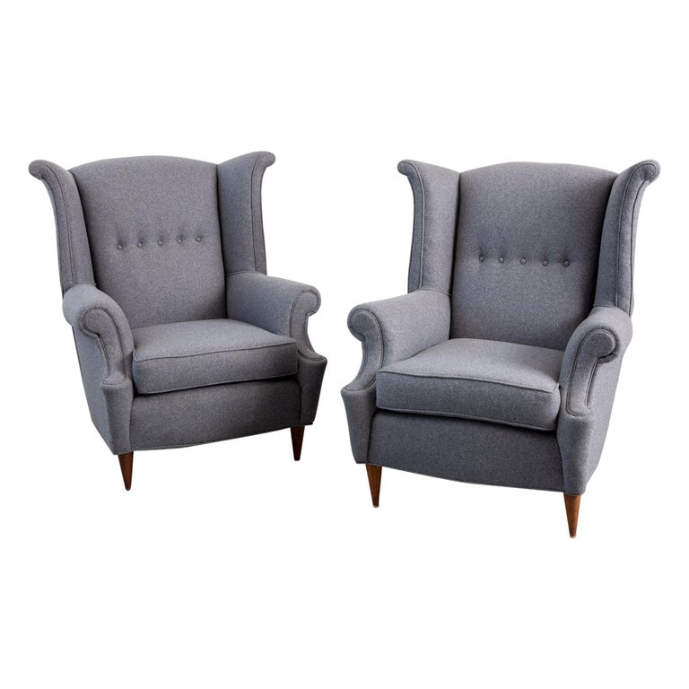 Pair of 1940s Italian Wingback Chairs For Sale