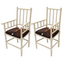 Pair of 1940s Ivory Spool Armchairs in Brown Cowhide