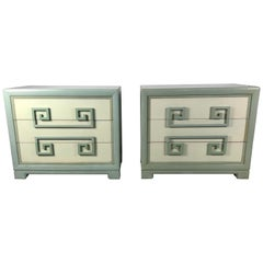Pair of 1940s Kittinger Mandarin Greek Key Chests, Regency Modern