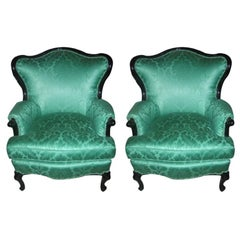 Pair of 1940s Lacquered Armchairs in Green Scalamandre Damask