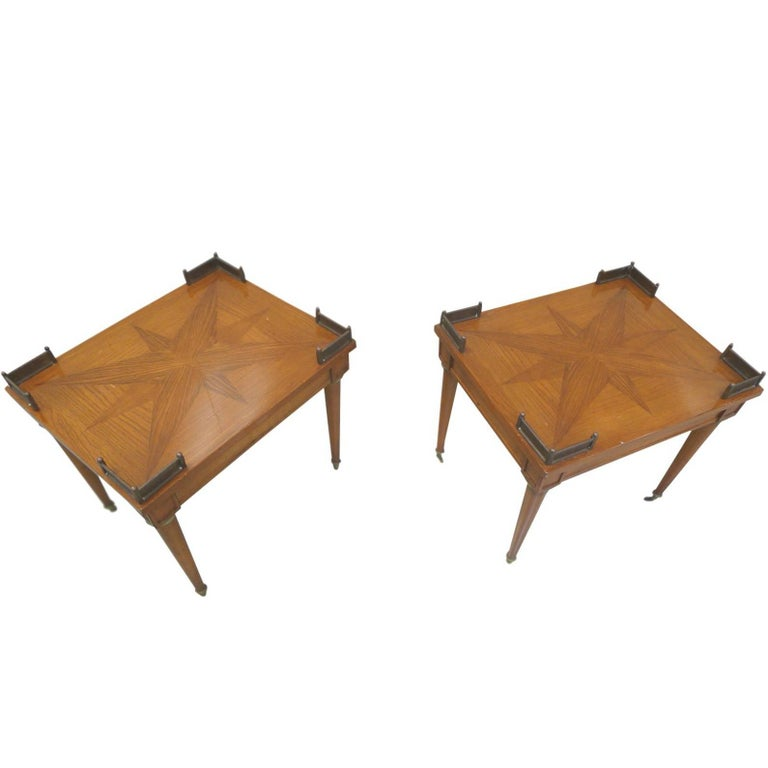 Pair of 1940s Lacquered Oak Parquetry Side Tables