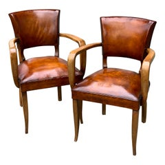 Pair of 1940s Leather Bridge Chair